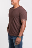 Sam V Neck Henley - Deep Rust Heather