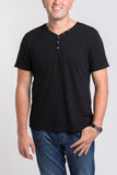 Sam V Neck Henley - Black
