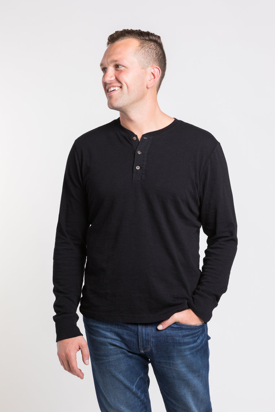 Mason Crew Neck Henley - Black -single