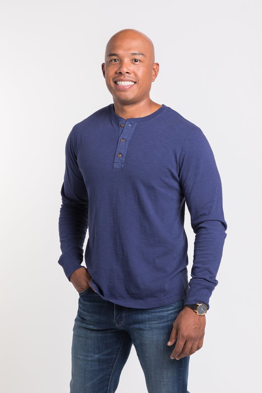 Mason Crew Neck Henley - Olympic Blue -featured