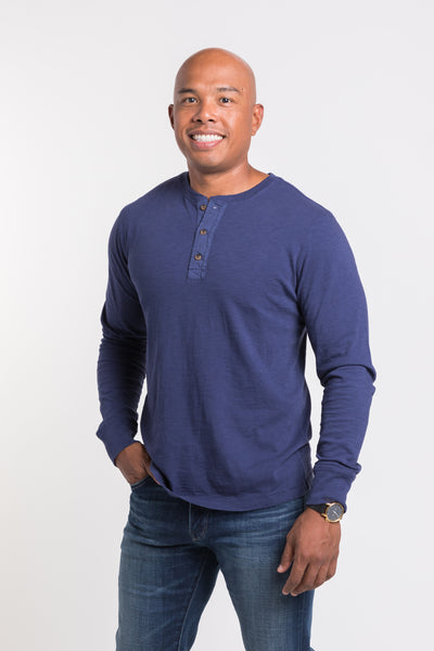 Mason Crew Neck Henley - Olympic Blue