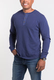 Mason Crew Neck Henley - Olympic Blue -compact