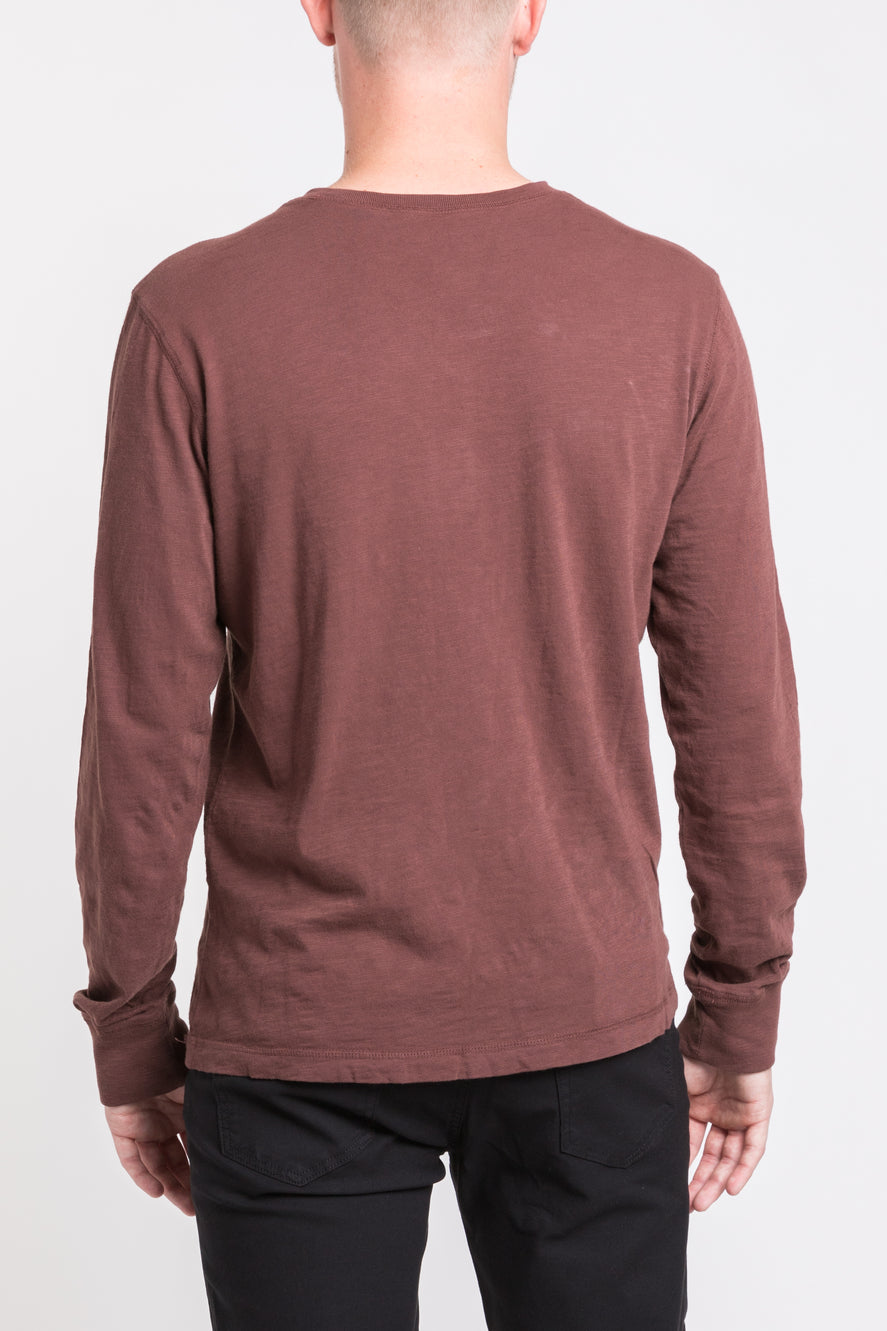 Mason Crew Neck Henley - Deep Rust -single