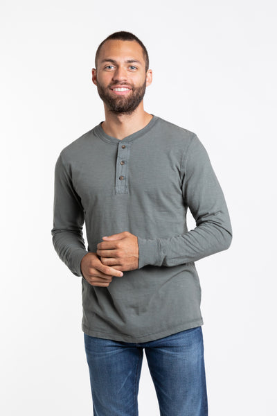 Mason Crew Neck Henley - Deep Green