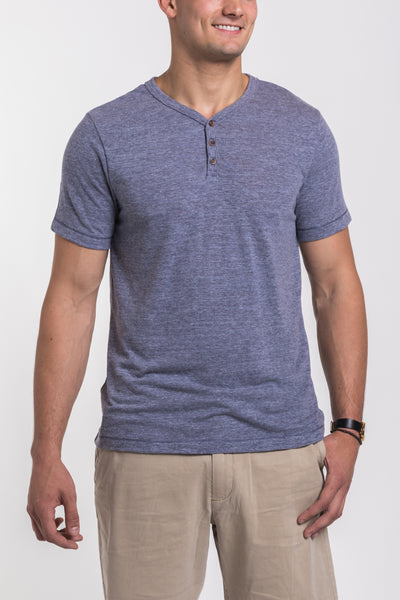 Mercer V Neck Henley - Chambray