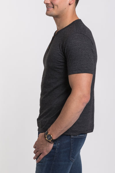 Mercer V Neck Henley - Black