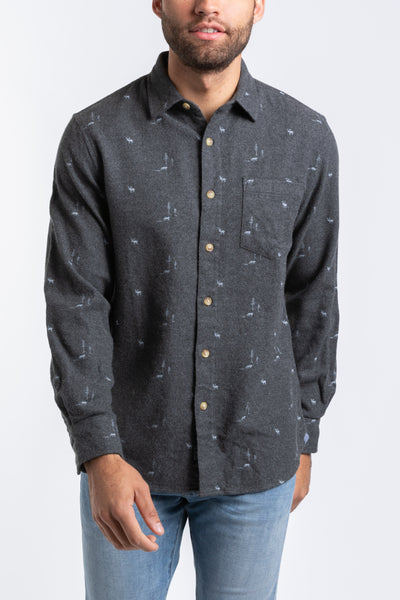 Lodge Lux Flannel Shirt- Charcoal Elk Print
