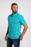 Lime SS Button Down - Ocean