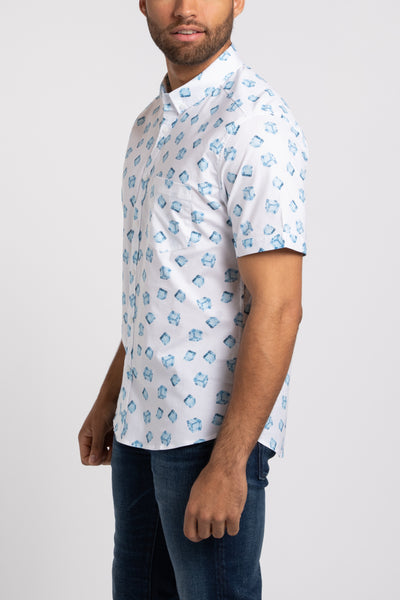 Ice Cube SS Button Down - White