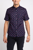 Flamingo Party SS Button Down - Navy