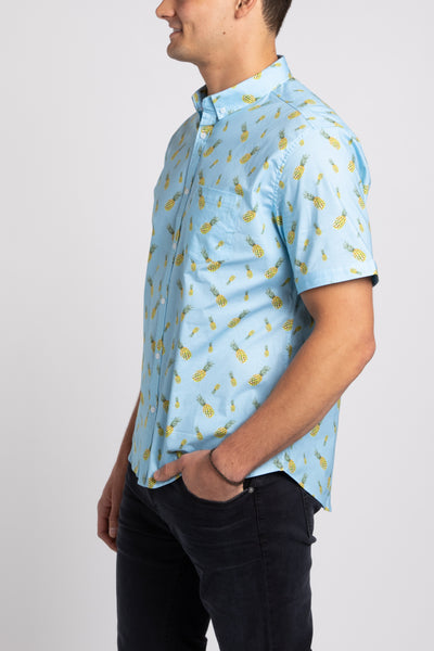 Pineapple Party SS Button Down - Sky
