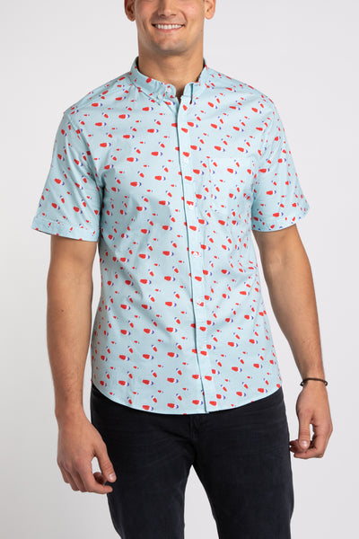 Rocket Pop SS Button Down - Ice Blue