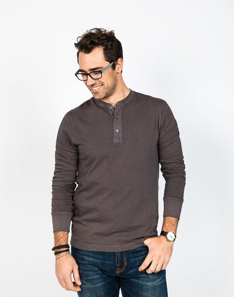Mason Crew Neck Henley - Warm Grey
