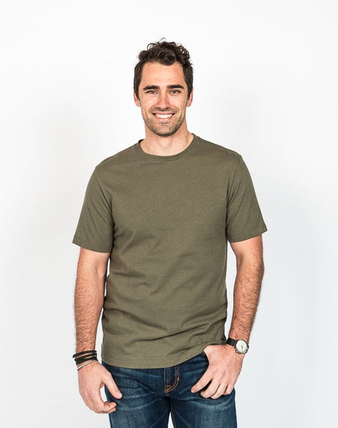 The Ethan crew neck in olive is known for its soft cotton brush jersey and timeless design.