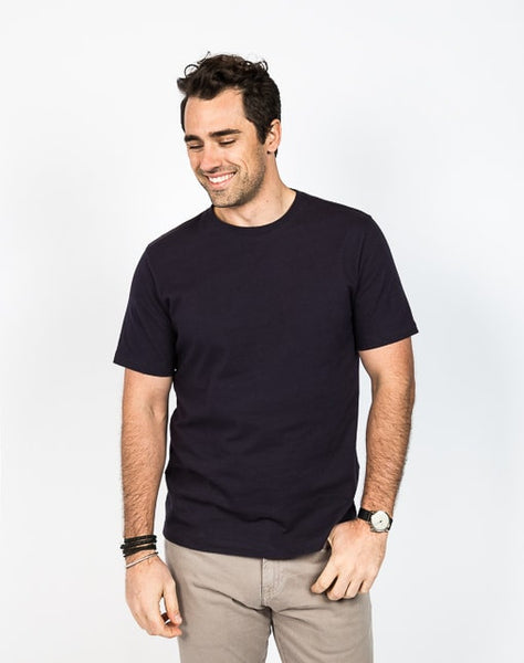The Ethan crew neck in navy is known for its soft cotton brush jersey and timeless design.