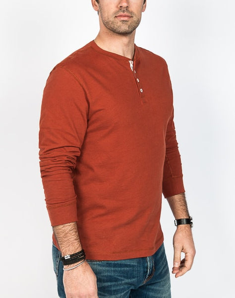 Rob Crew Neck Henley - Rust