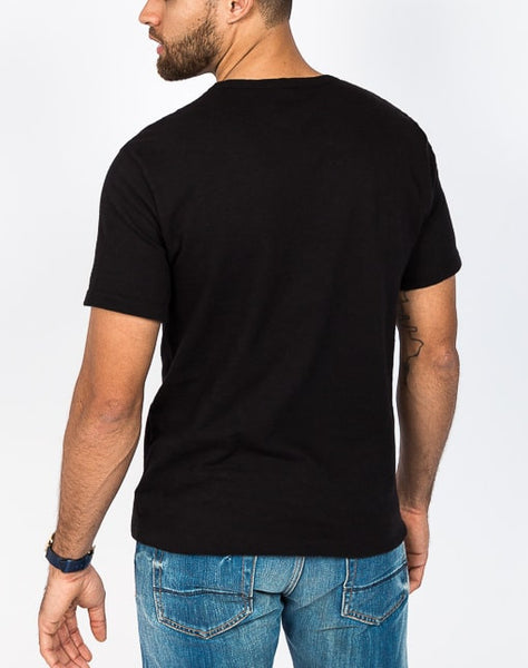 The Ethan crew neck in black is known for its soft cotton brush jersey and timeless design.