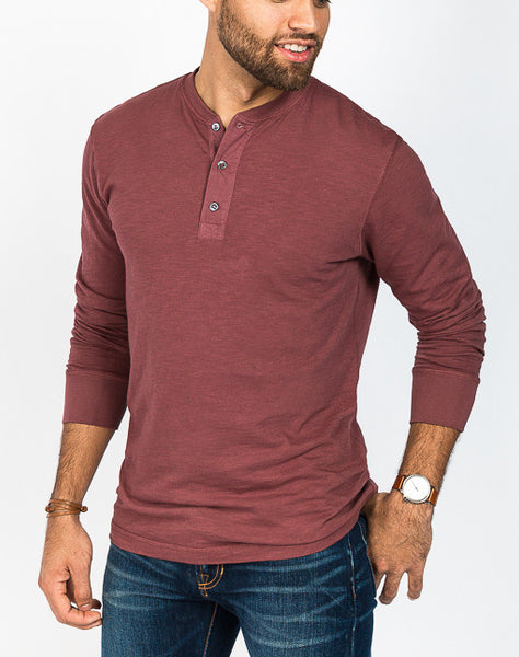 Mason Crew Neck Henley - Burgundy - Right Side View