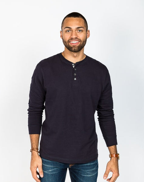 The Rob in navy is a timeless long sleeve henley that is known for its quality and comfortable cotton brushed jersey.