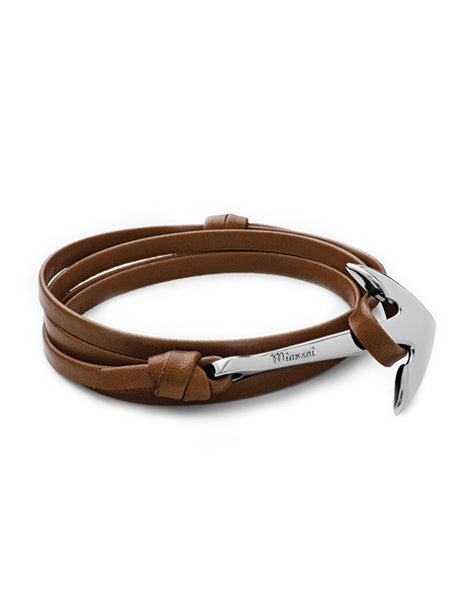 Silver Anchor Brown Leather Bracelet