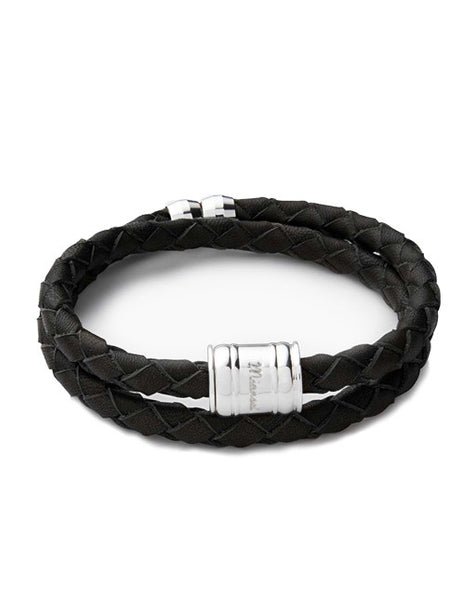 Black Leather Bolo Bracelet
