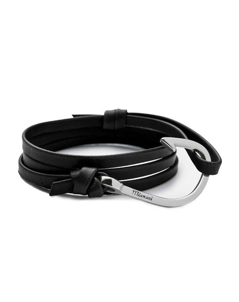 Silver Hook Black Leather Bracelet