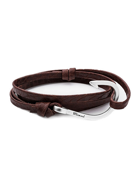 Silver Hook Brown Leather Bracelet