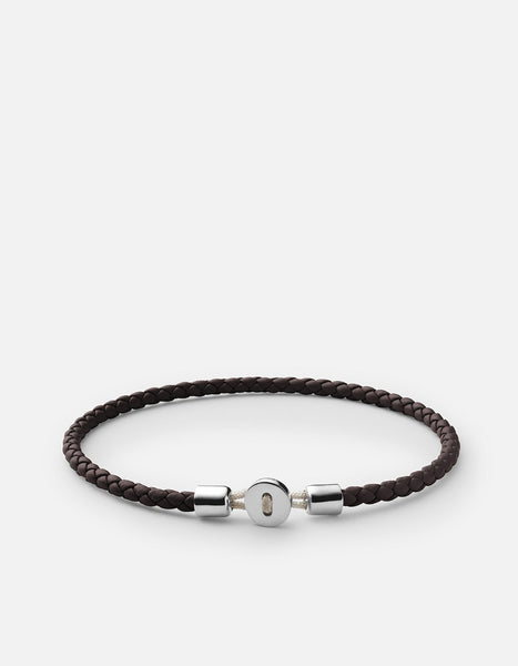 Sterling Silver Nexus Leather Bracelet - Brown