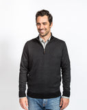 Sullivan Pique 1/4 Zip Sweater - Black - Full Front View