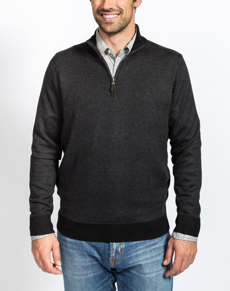Sullivan Pique 1/4 Zip Sweater - Black - Front View