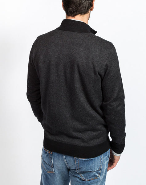 Sullivan Pique 1/4 Zip Sweater - Black - Back View