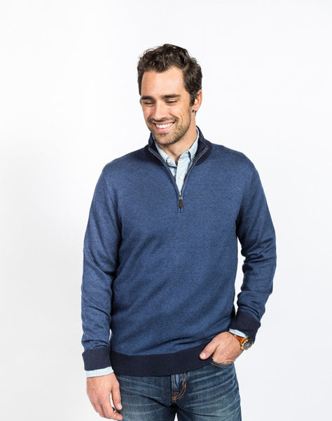 Sullivan Pique 1/4 Zip Sweater - Navy - Full Front View