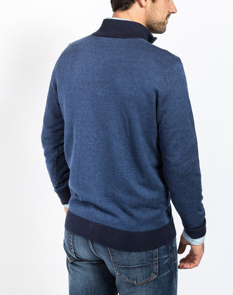 Sullivan Pique 1/4 Zip Sweater - Navy - Back View