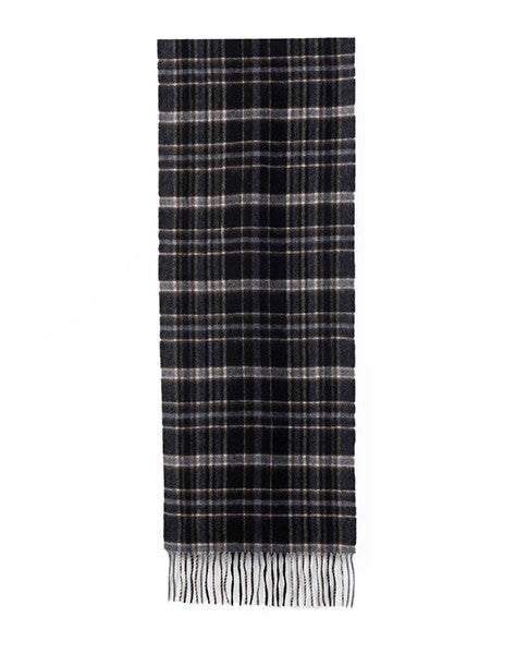 Benjamin Woven Scarf - Brown Plaid cashmere & wool scarf
