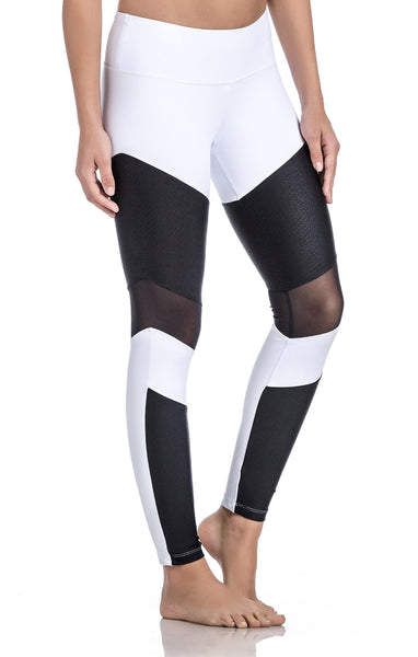 White Color-Mesh and contrasting fabric inserts-workout legging