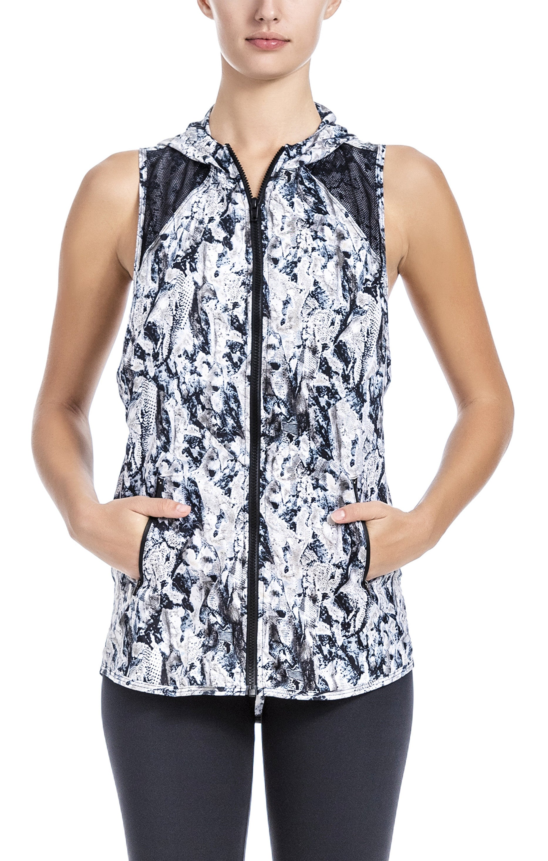 Grey Tone Brush Stroke Colors-Lightweight sleeveless jacket