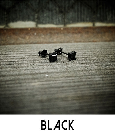 Men's Black Stud Earrings