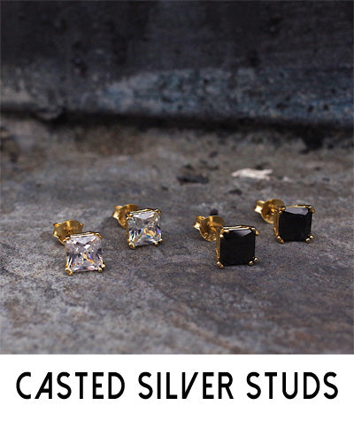 Men's Casted Silver Stud Earrings