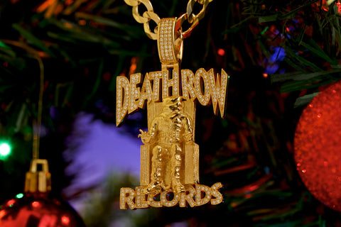 14k Gold VVS Diamond Death Row Logo Pendant by King Ice
