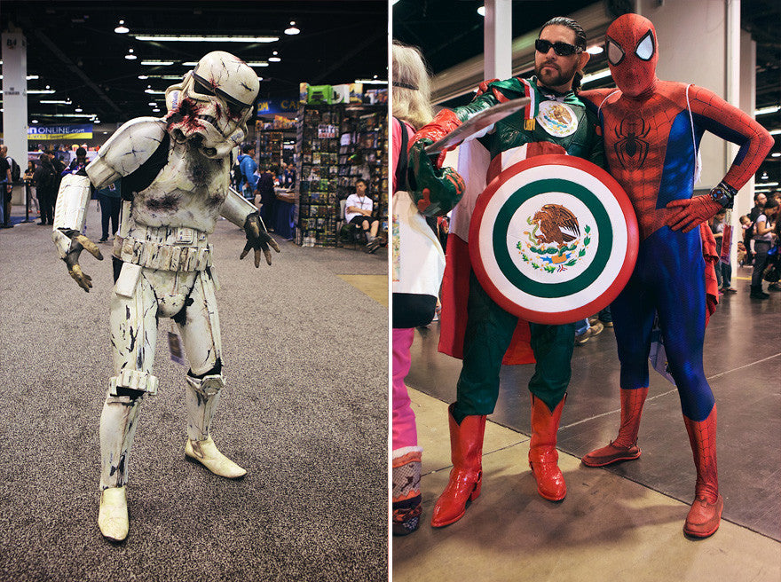 King Ice at WonderCon 2017 - Stromtrooper, Captain Mexico and Spiderman cosplayers
