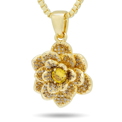 14K Gold The Gold Lotus Flower of Purity Necklace NKX14026