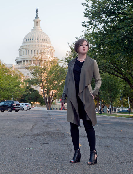 Erin Draper asymmetric minimalist sage green Tristam jacket at Washington DC capitol
