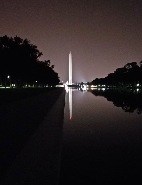 Washington monument reflecting pool photograph at night