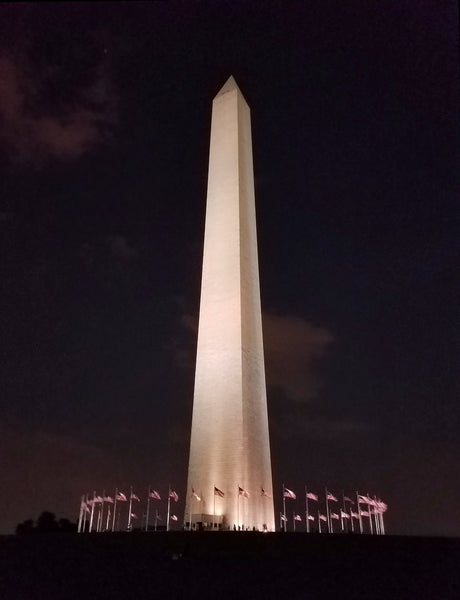 Washington monument at night at US capitol
