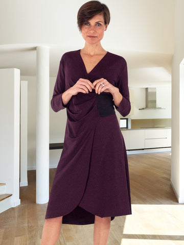Waverly Burgundy Eco-Friendly Faux Wrap Dress for Office from Erin Draper