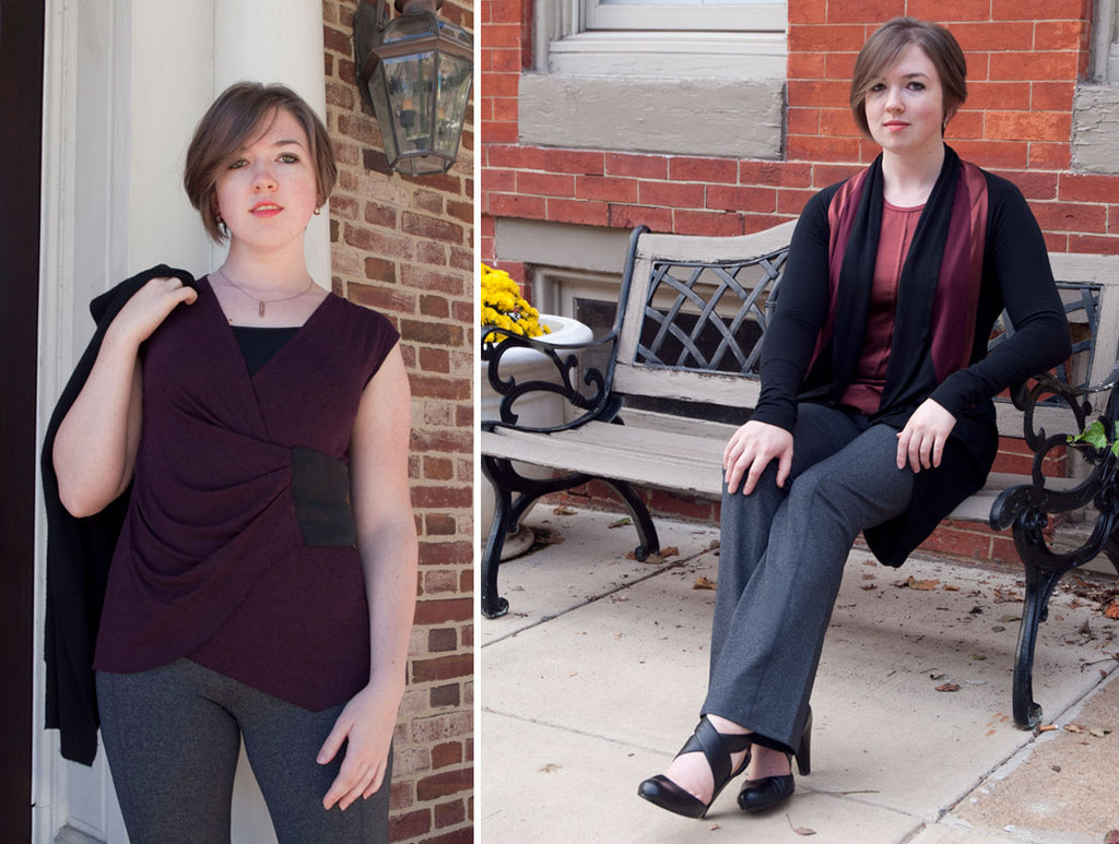 51a1bf3596b6b I paired Prana's Contour yoga pants in Charcoal Heather with a couple of my  own tops – Faya in Burgundy, and Freya in Topaz – and with my Aliceanna  jacket ...