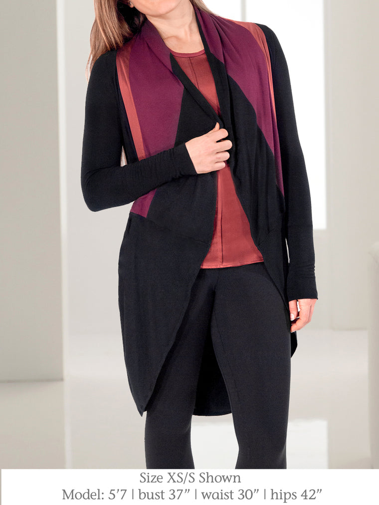 ALICEANNA -  Jersey and Silk Cardigan with Innovative Drape  (Black/Burgundy)