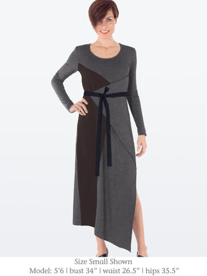 ANNA – Ankle Length Jersey + Silk Long Sleeve Dress