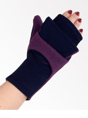 Sidney Eco-Friendly Convertible Mittens / Fingerless Gloves  (Navy Gray)