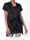 DEENA - DRAPED, SPORTY TUNIC TEE (BLACK)